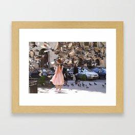 The Girl with Doves Framed Art Print