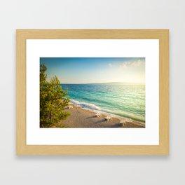 Beach in croatian coast, blue sea. Aerial view Framed Art Print