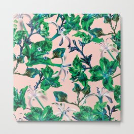 Tropical Bramble Pink Metal Print