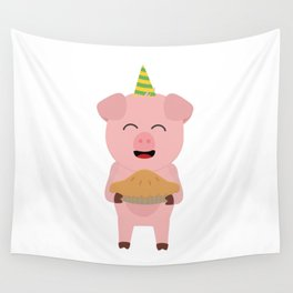 Party Pig with cake Wall Tapestry
