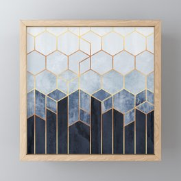 Soft Blue Hexagons Framed Mini Art Print