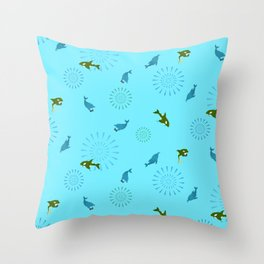 Blue Dolphin and Orca Throw Pillow