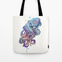 octopus Tote Bags featuring octopus  by Laura Graves