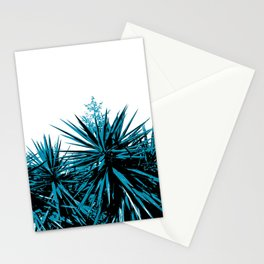 Yucca treetops in cyan Stationery Cards