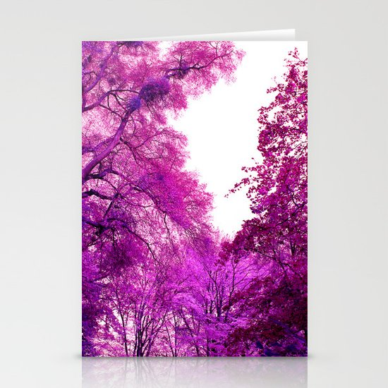 purple trees II Stationery Cards