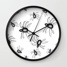 Spiders Everywhere Black and White Halloween Horror Wall Clock