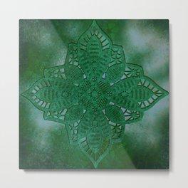 bright opal green lace star Metal Print