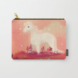 White Horse on the Pink Prairie Carry-All Pouch