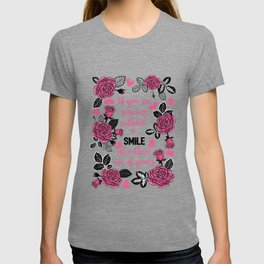 Pink and Black Rose Garden with Hearts T-shirt