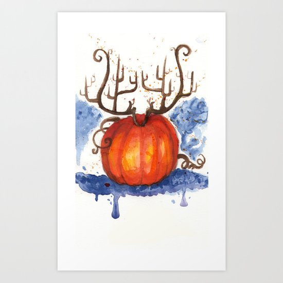Deer Pumpkin Art Print