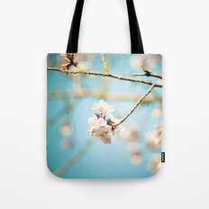 Cherry Blossom, Pink Flowers and Blue Sky. Tote Bag