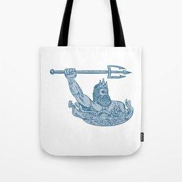 Poseidon Wielding Trident Drawing Tote Bag
