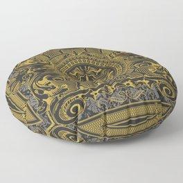 Medallion Lion Black Gold Floor Pillow