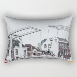 Iconic bridge and canal houses near Spaarne river in Haarlem in winter | Haarlem historical city, the Netherlands | Urban travel photography Art Print Rectangular Pillow