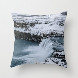 Waterfall in Icelandic highlands during winter with mountain - Landscape Photography Throw Pillow
