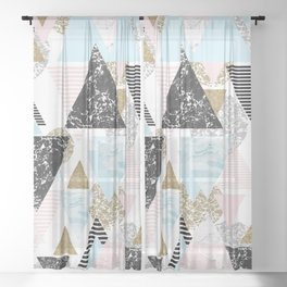 Textures triangles geometric Sheer Curtain