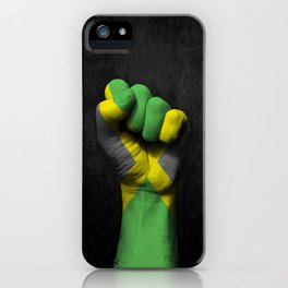 Jamaican Flag on a Raised Clenched Fist iPhone Case