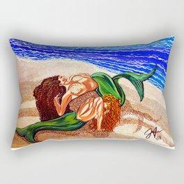 Mermaids Spent Lovers Beach Ocean Shells Sea Sand Waves Nude Women Red Head Passion Couple Rectangular Pillow