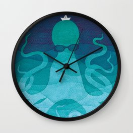 Octopus, sea creature, animals, ocean watercolor teal blue Wall Clock