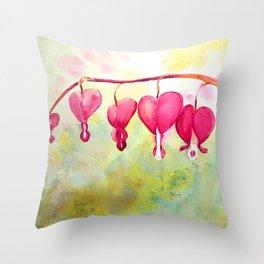 Bleeding Heart Branch Throw Pillow