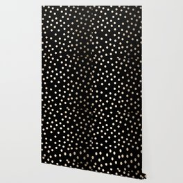 Simply Dots White Gold Sands on Midnight Black Wallpaper