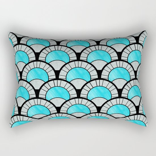 Aqua Art Deco Twenties Fan Pattern Rectangular Pillow