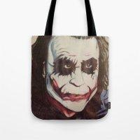 joker Tote Bags featuring joker by DeMoose_Art