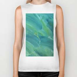 Blue-Green Brush Strokes Biker Tank