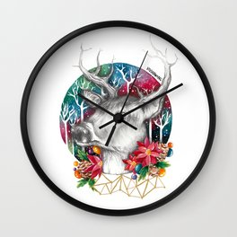 Christmas Reindeer / Deer Painting Drawing Wall Clock