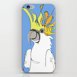 Yellow Crested Cockatoo in blue iPhone Skin