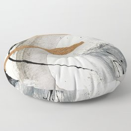 Armor [7]: a bold minimal abstract mixed media piece in gold, black and white Floor Pillow