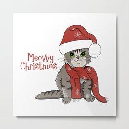 Cat Lover's Meowy Christmas Santa Cat Metal Print