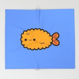 Cute prawn tempura Throw Blanket