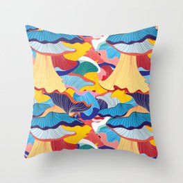 Pattern of colorful mushrooms Throw Pillow