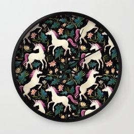 Dancing Unicorns In The Garden Fantasy Tapestry Pattern Wall Clock