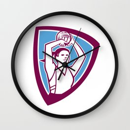 Netball Player Shooting Ball Shield Retro Wall Clock
