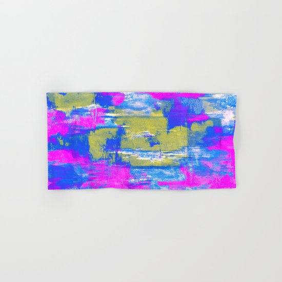 Just Relax - Abstract, pink, blue and yellow painting Hand & Bath Towel
