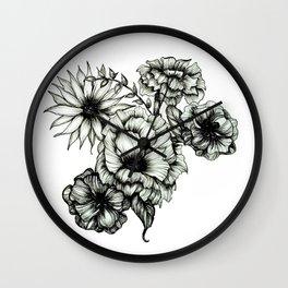 Floral Ink III Wall Clock