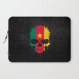 Flag of Cameroon on a Chaotic Splatter Skull Laptop Sleeve