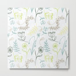 Mod Floral - Seafoam Metal Print