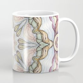 purple flowers hand drawn and  kaleidoscope mandala Coffee Mug