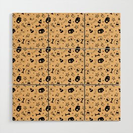 Skully Halloween pattern Wood Wall Art
