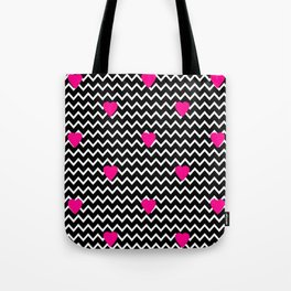 Black Chevron with Hot Pink Hearts Tote Bag