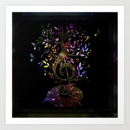 Glowing Treble Clef tree with colorful Music Notes Art Print
