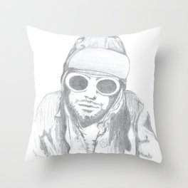Cobain's cool glasses Throw Pillow