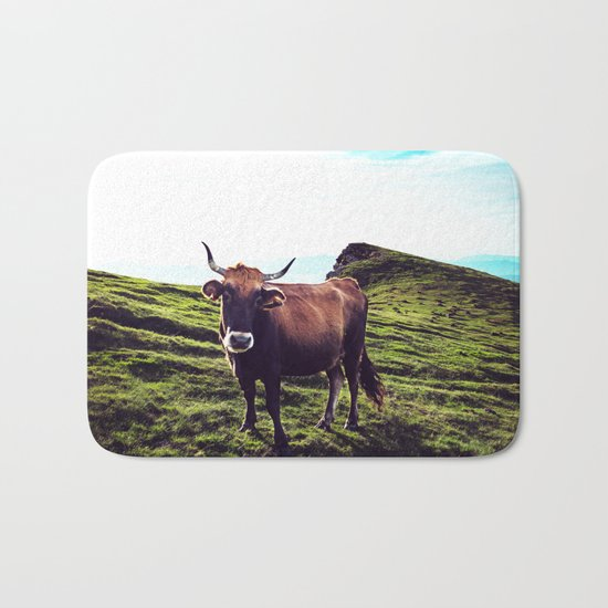 Cow in the Alps, Mountains Bath Mat