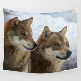 Twin Wolves Wall Tapestry