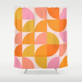 Mid Century Mod Geometry in Pink and Orange Shower Curtain