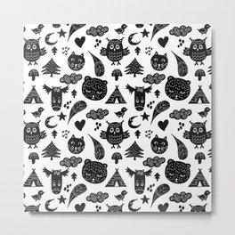Folk Animals Pattern  Metal Print