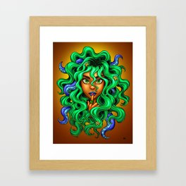 Tentacle Hair Lady- green Framed Art Print
